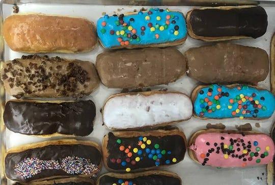 An assortment of long johns at ChuChu Donuts.