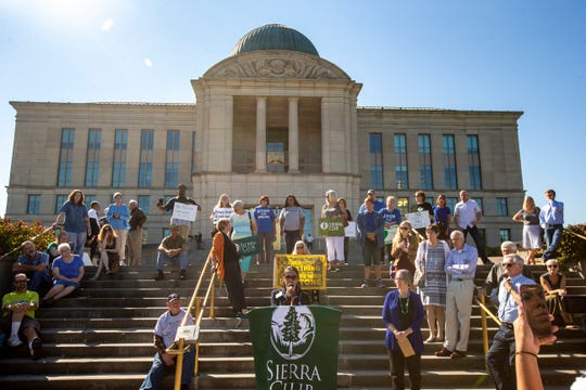 Iowans rally on the steps of the Iowa Supreme Court in this file photo from Sept. 2018.