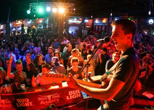 Royce Johns performs at Beer Can Alley in Des Moines.