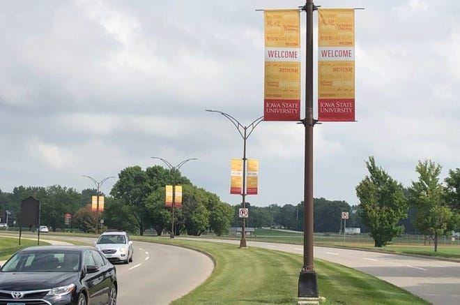 "Banners saying ""Welcome,"" in multiple languages at Iowa State University promote acceptance."