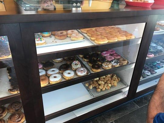 The display case at ChuChu Donuts.