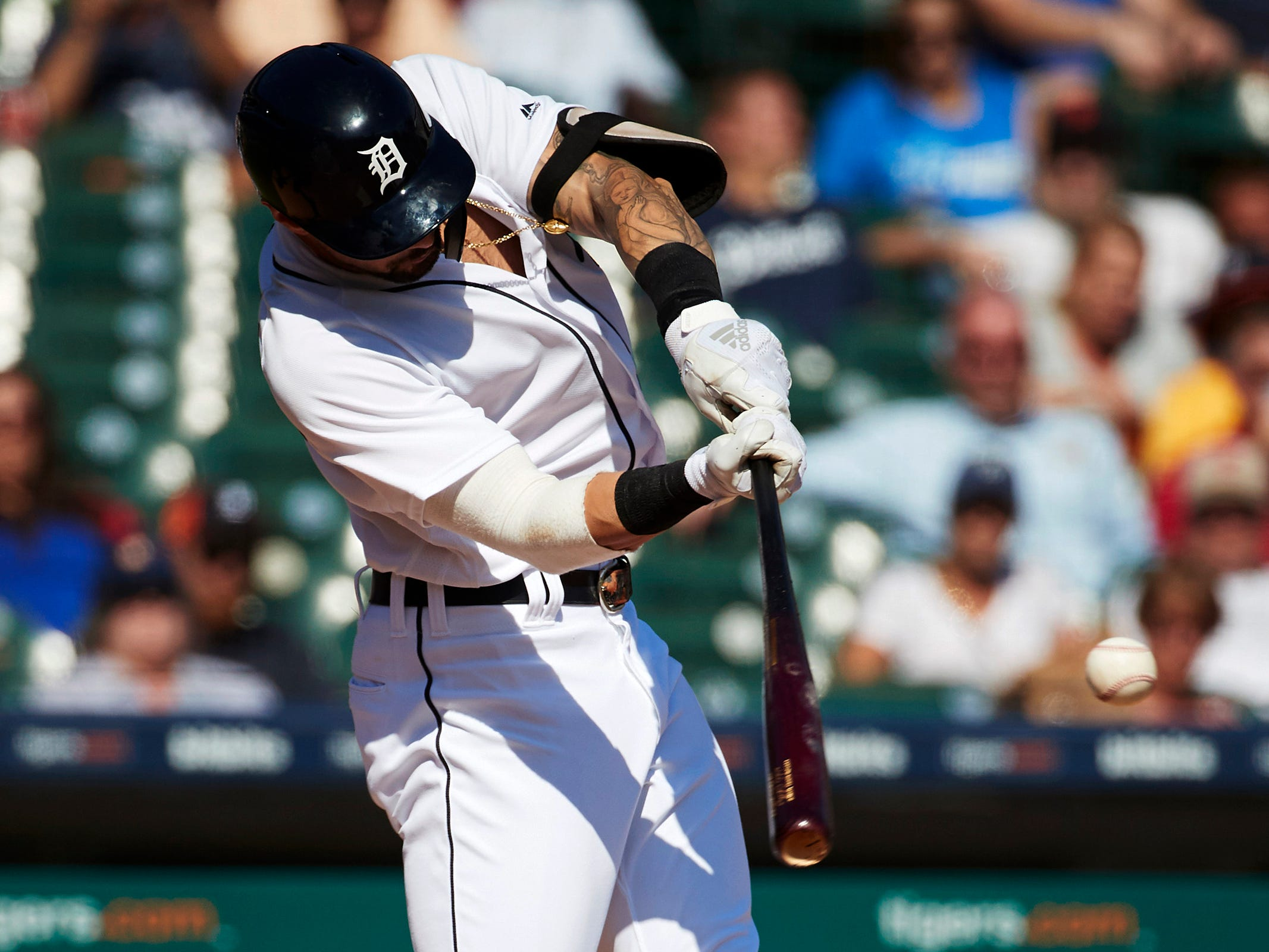 Tigers designated hitter Nicholas Castellanos hits a two-run home run in the seventh inning of the Tigers' 5-4 loss to the Astros on Wednesday, Sept. 12, 2018, at Comerica Park.