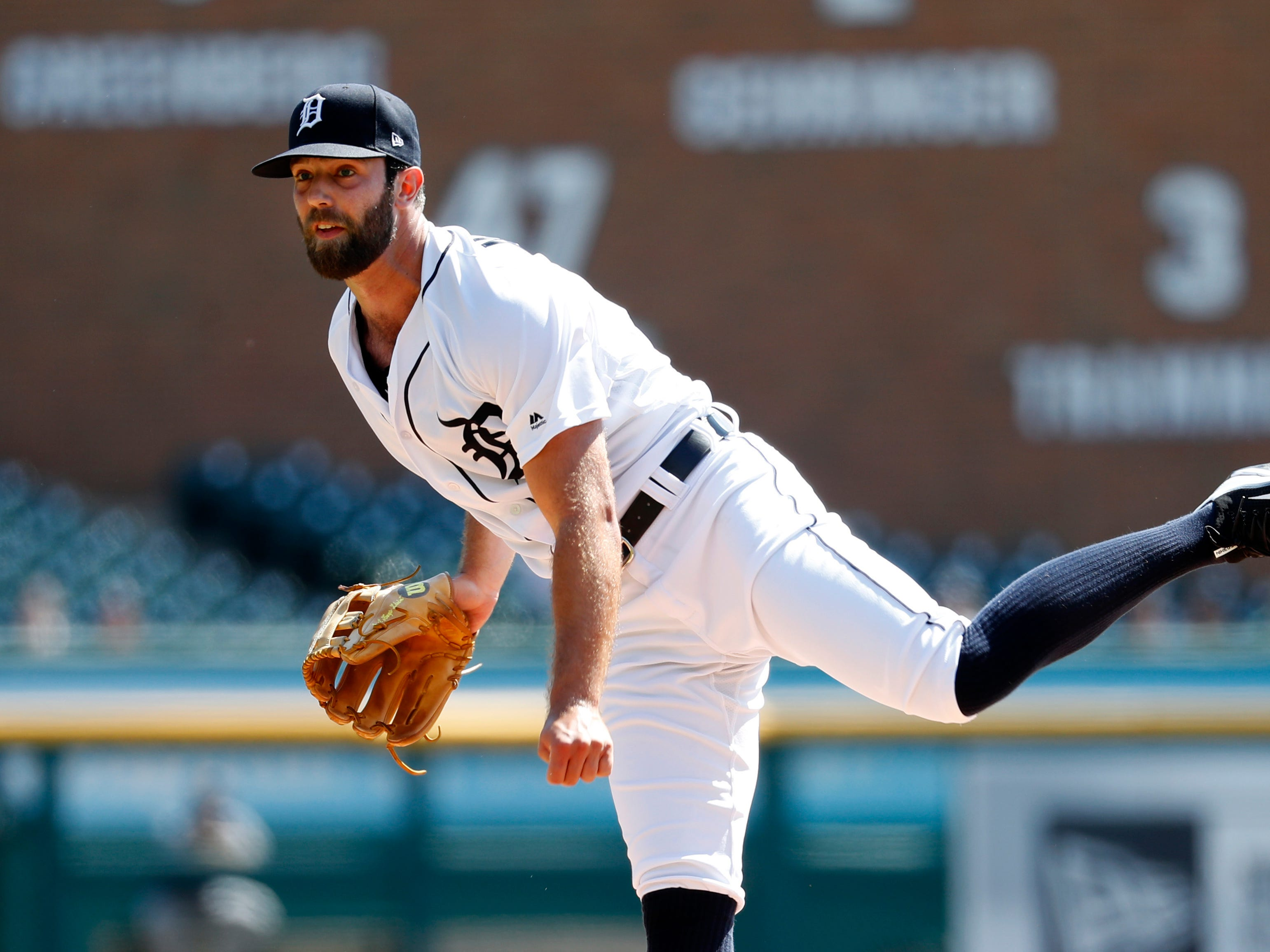 Tigers pitcher Daniel Norris throws in the first inning Wednesday, Sept. 12, 2018, at Comerica Park.
