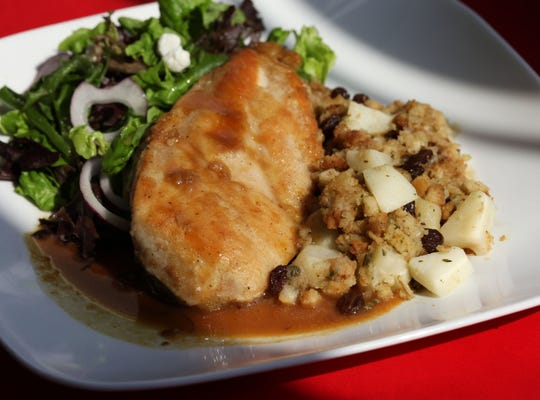 Cider-Glazed Chicken with Apple-Raisin Stuffing