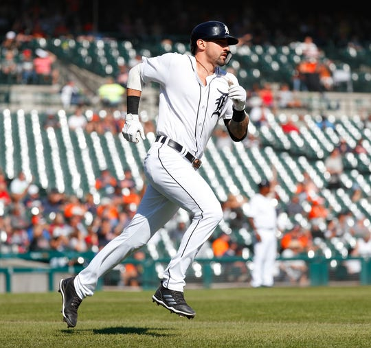 Tigers designated hitter Nicholas Castellanos rounds the bases after hitting a two-run home run in the seventh inning of the Tigers' 5-4 loss to the Astros on Wednesday, Sept. 12, 2018, at Comerica Park.