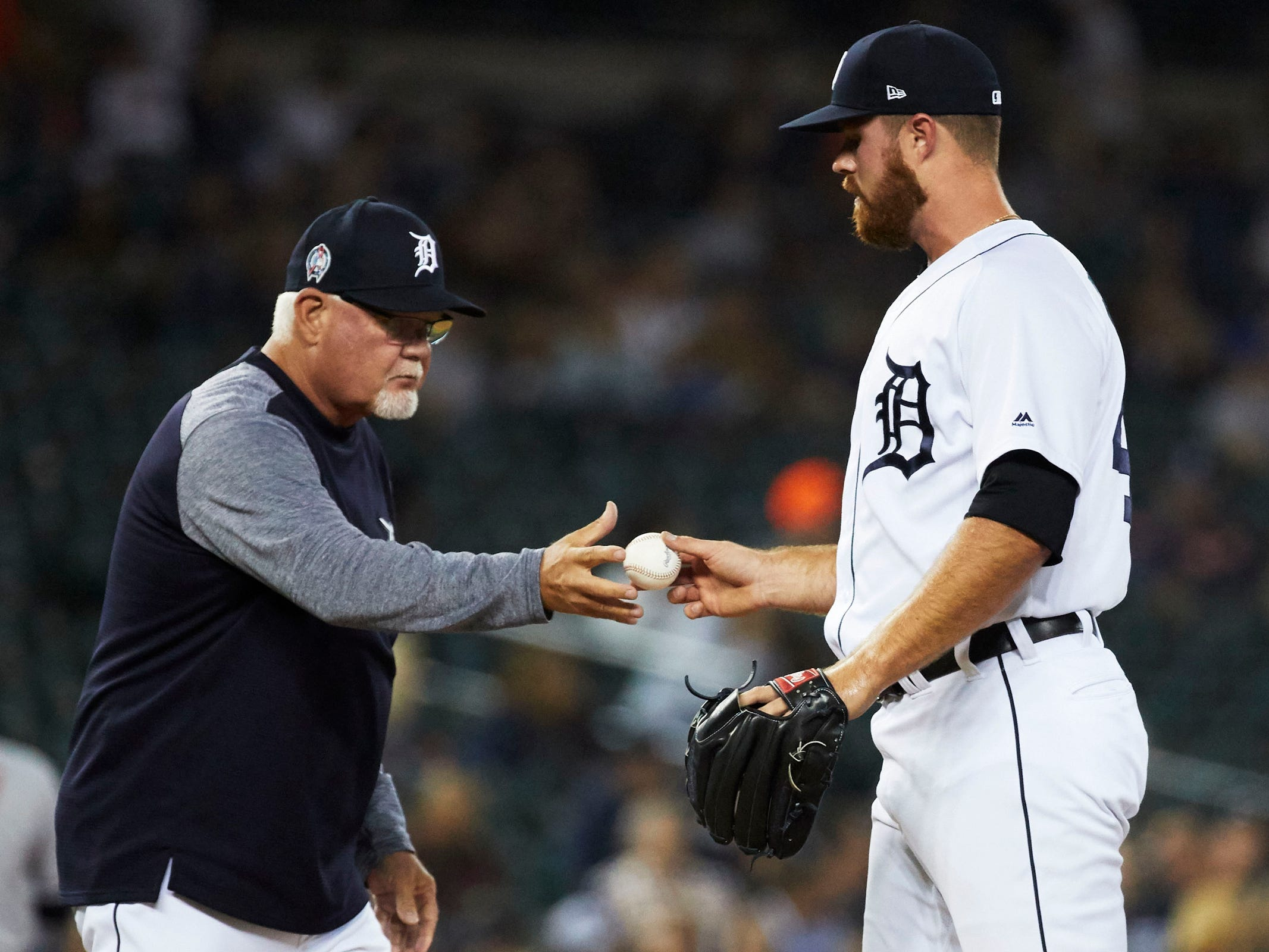 Detroit Tigers manager Ron Gardenhire (15) takes the ball to relieve relief pitcher Buck Farmer (45) in the sixth inning against the Houston Astros at Comerica Park, Tuesday, Sept. 11, 2018.