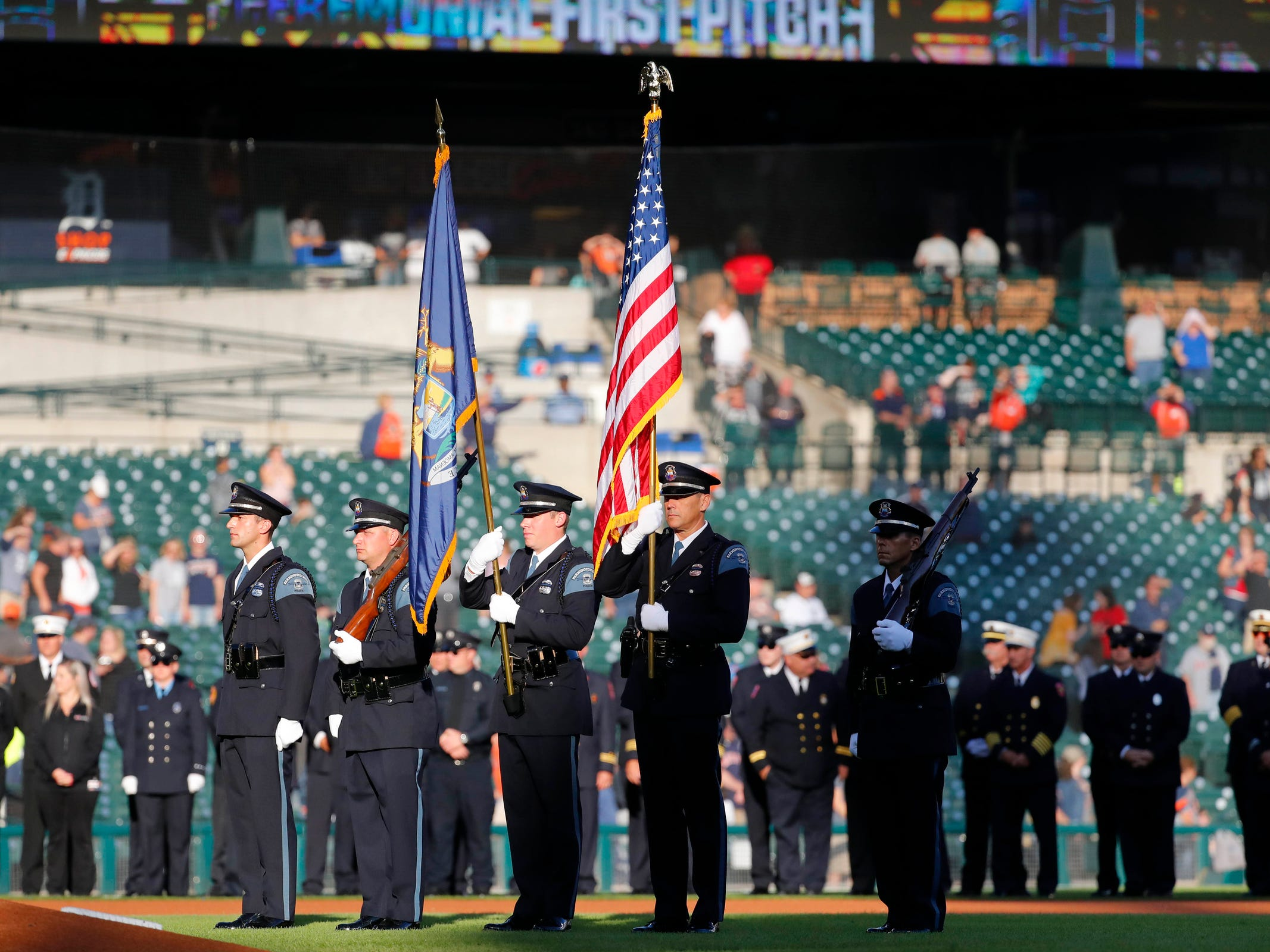 Honor guard during the national anthem prior to the game between the Detroit Tigers and the Houston Astros at Comerica Park, Tuesday, Sept. 11, 2018.