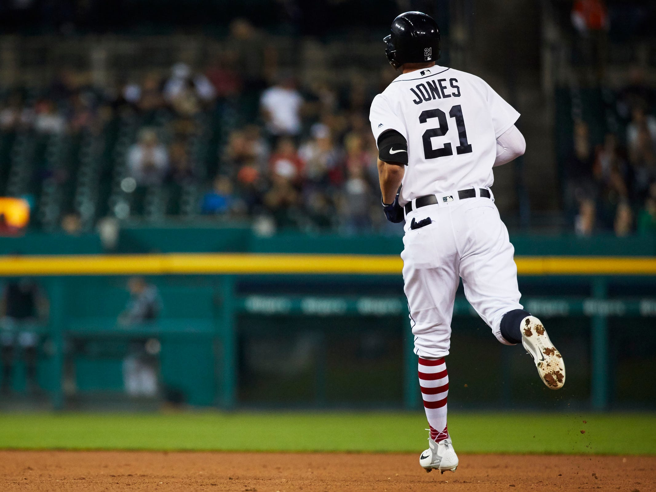 Detroit Tigers center fielder JaCoby Jones (21) runs the bases after he hits a three run home run in the fourth inning against the Houston Astros at Comerica Park, Tuesday, Sept. 11, 2018.