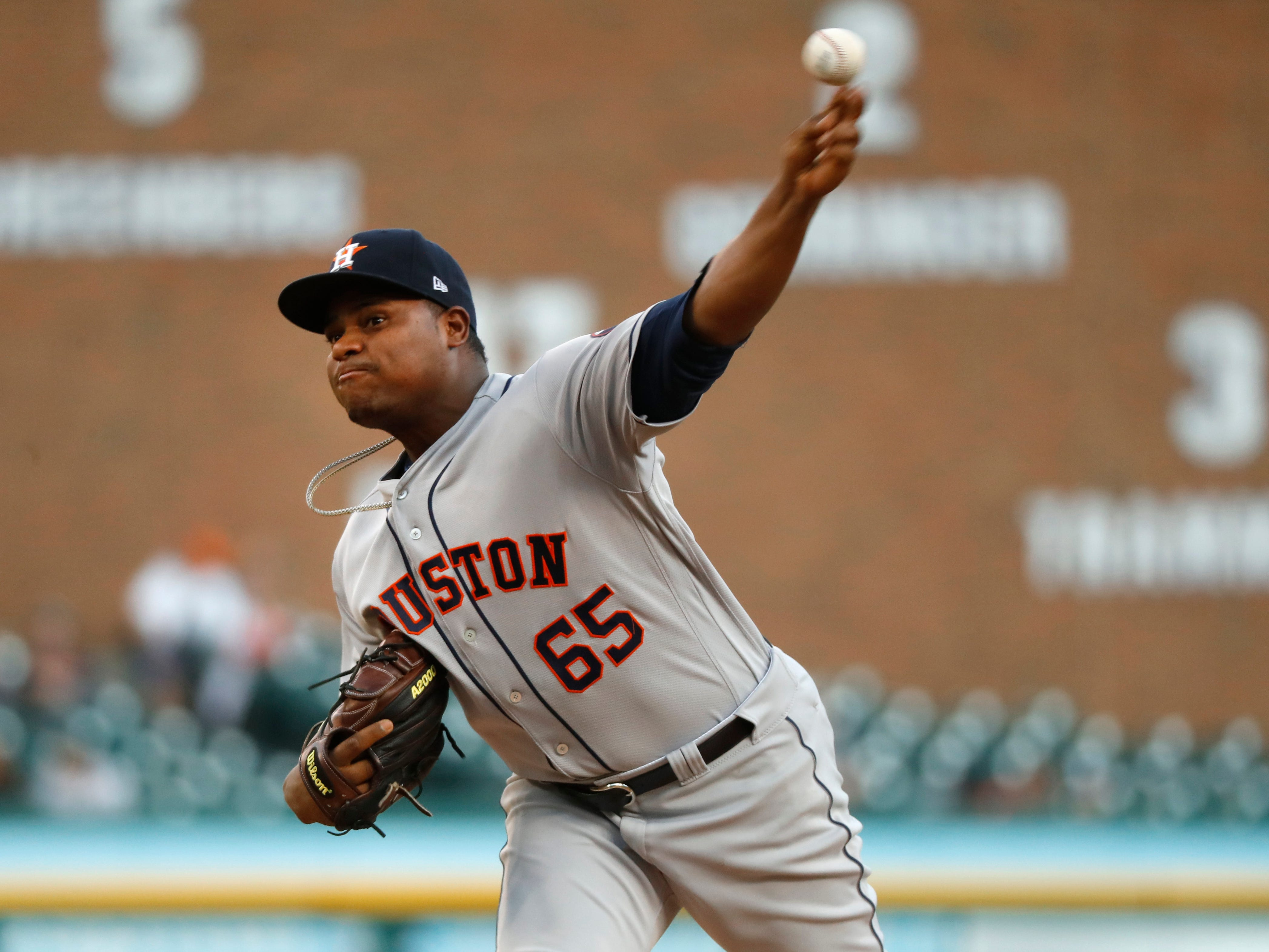 Houston Astros pitcher Framber Valdez throws in the second inning of a baseball game against the Detroit Tigers in Detroit, Tuesday, Sept. 11, 2018.