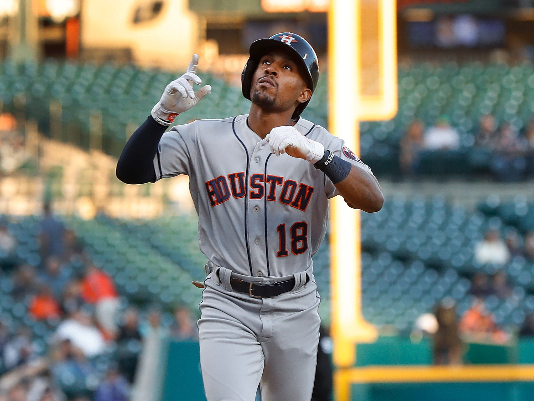 Houston Astros' Tony Kemp celebrates his two-run home run in the second inning of a baseball game against the Detroit Tigers in Detroit, Tuesday, Sept. 11, 2018.