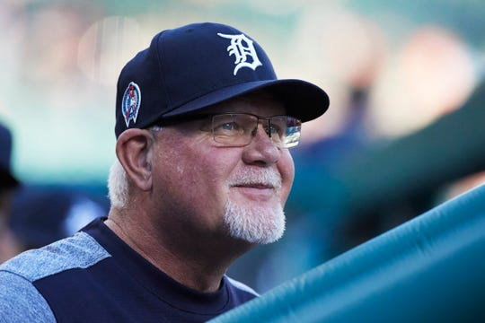 Detroit Tigers manager Ron Gardenhire (15) in the dugout prior to the game against the Houston Astros at Comerica Park, Tuesday, Sept. 11, 2018.