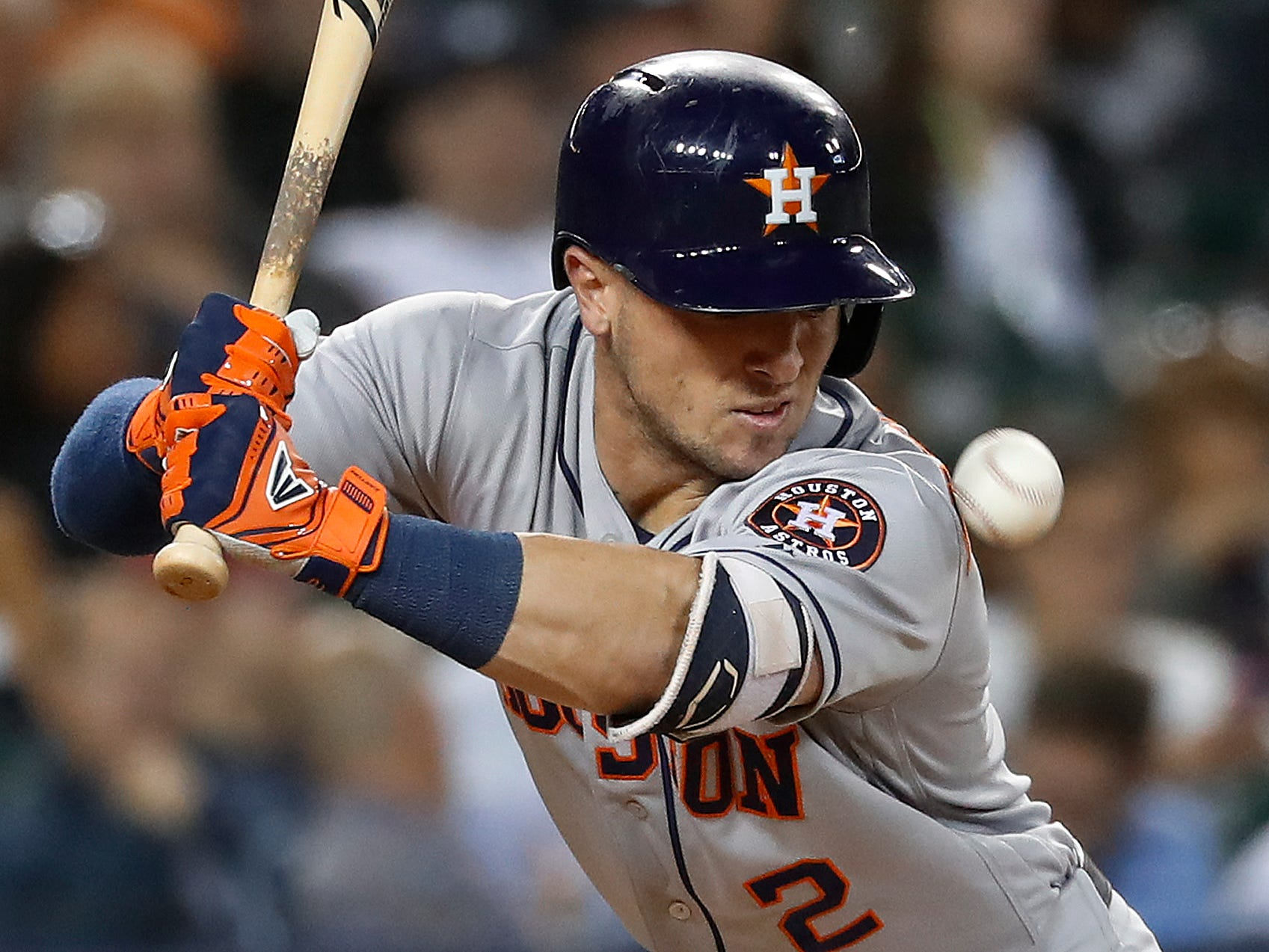 Houston Astros' Alex Bregman is hit by a pitch from Detroit Tigers pitcher Louis Coleman in the seventh inning.
