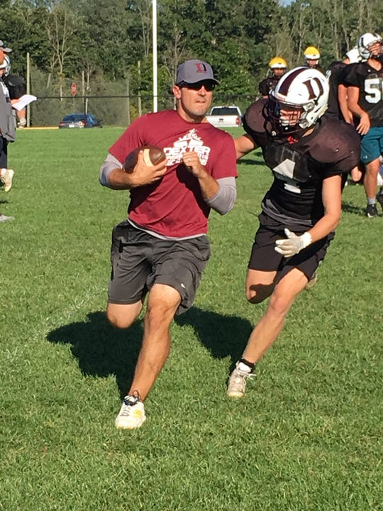 Dexter linebacker Evan Chapell (4) pursues a ball carrier during a practice this week.