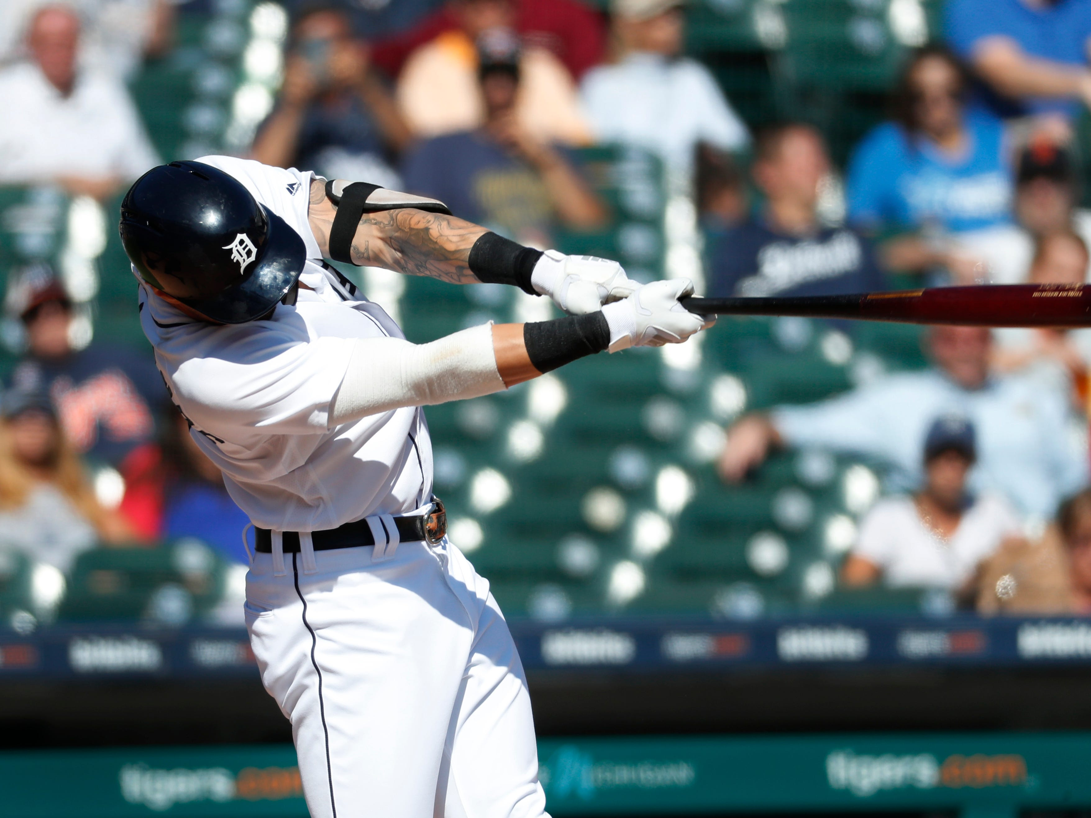 Detroit Tigers' Nicholas Castellanos hits a two-run home run against the Houston Astros in the seventh inning.