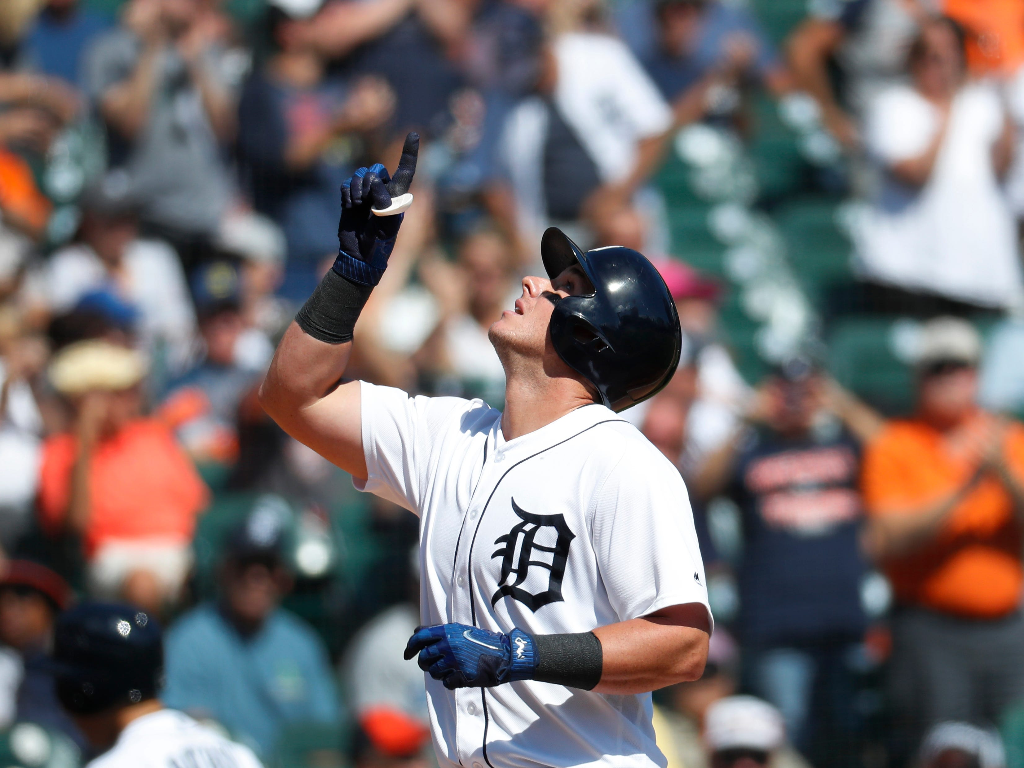 Detroit Tigers' James McCann celebrates his solo home run in the fourth inning.