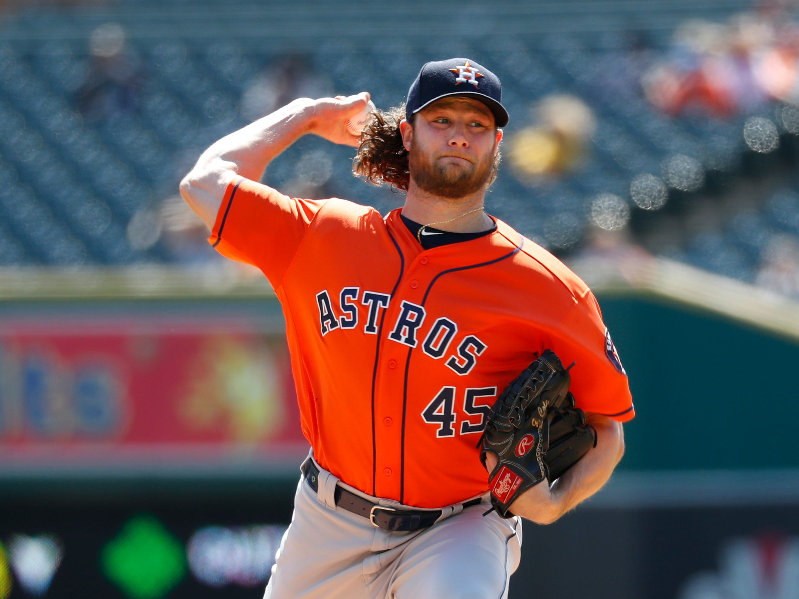 Houston Astros pitcher Gerrit Cole throws against the Detroit Tigers in the first inning.