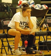 Elmira junior outside hitter Morgan Gentile, shown during a Sept. 11, 2018 home match against Owego, is expected to miss the remainder of the volleyball season with a broken foot.