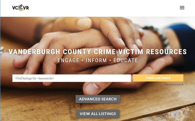 A screenshot of the homepage of vccvr.org, an online directory created to help crime victims access local resources as they recover from the effects of a crime.