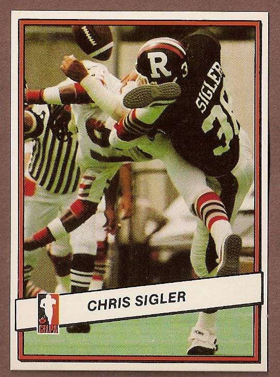 Chris Sigler's football card as a member of the Canadian Football League's Ottawa Rough Riders.