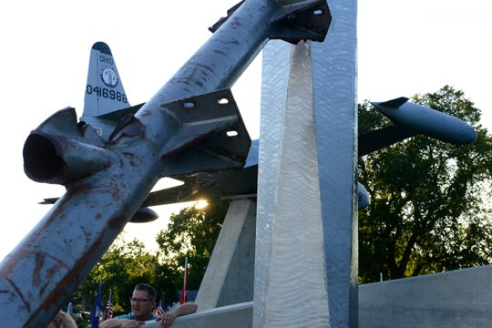 The Public Safety Service Memorial in Williams Park in Gibsonburg features a sculpture that includes a section of antenna from the North Tower of the World Trade Center.
