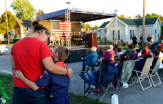 The Village of Gibsonburg held a ceremony Tuesday night in Williams Park to remembers those who died in the Sept. 11, 2001 terrorist attacks.