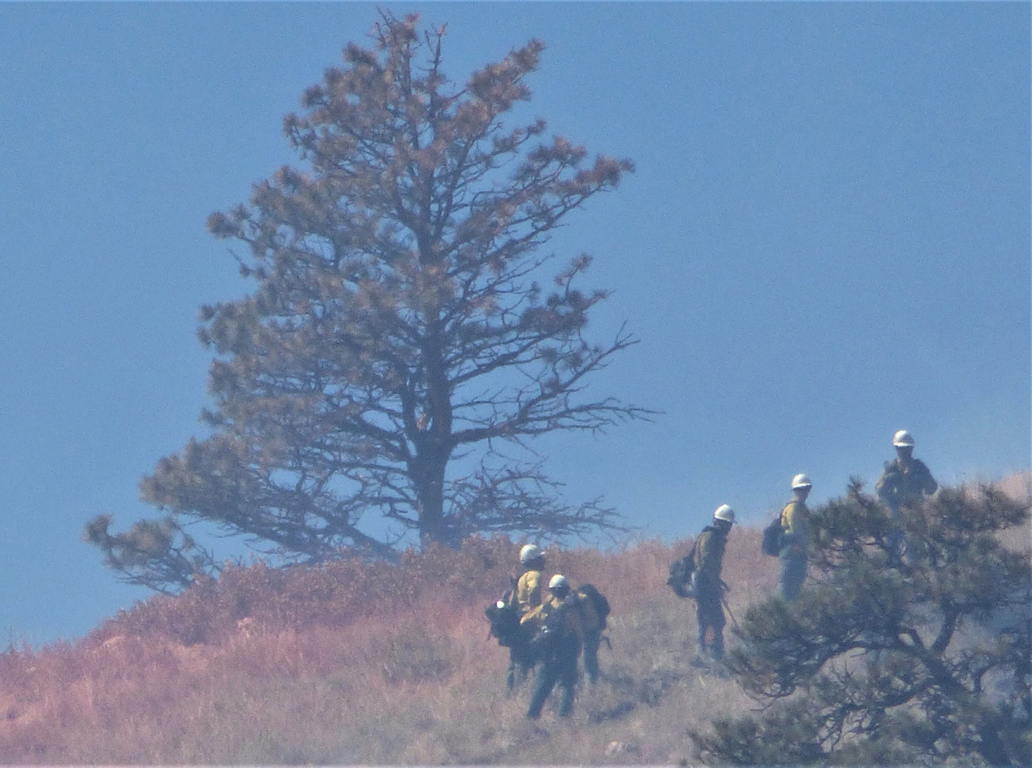 Reader Kristen Peterson, who lives near the Seaman Fire, provided this photo of firefighters working the fire.