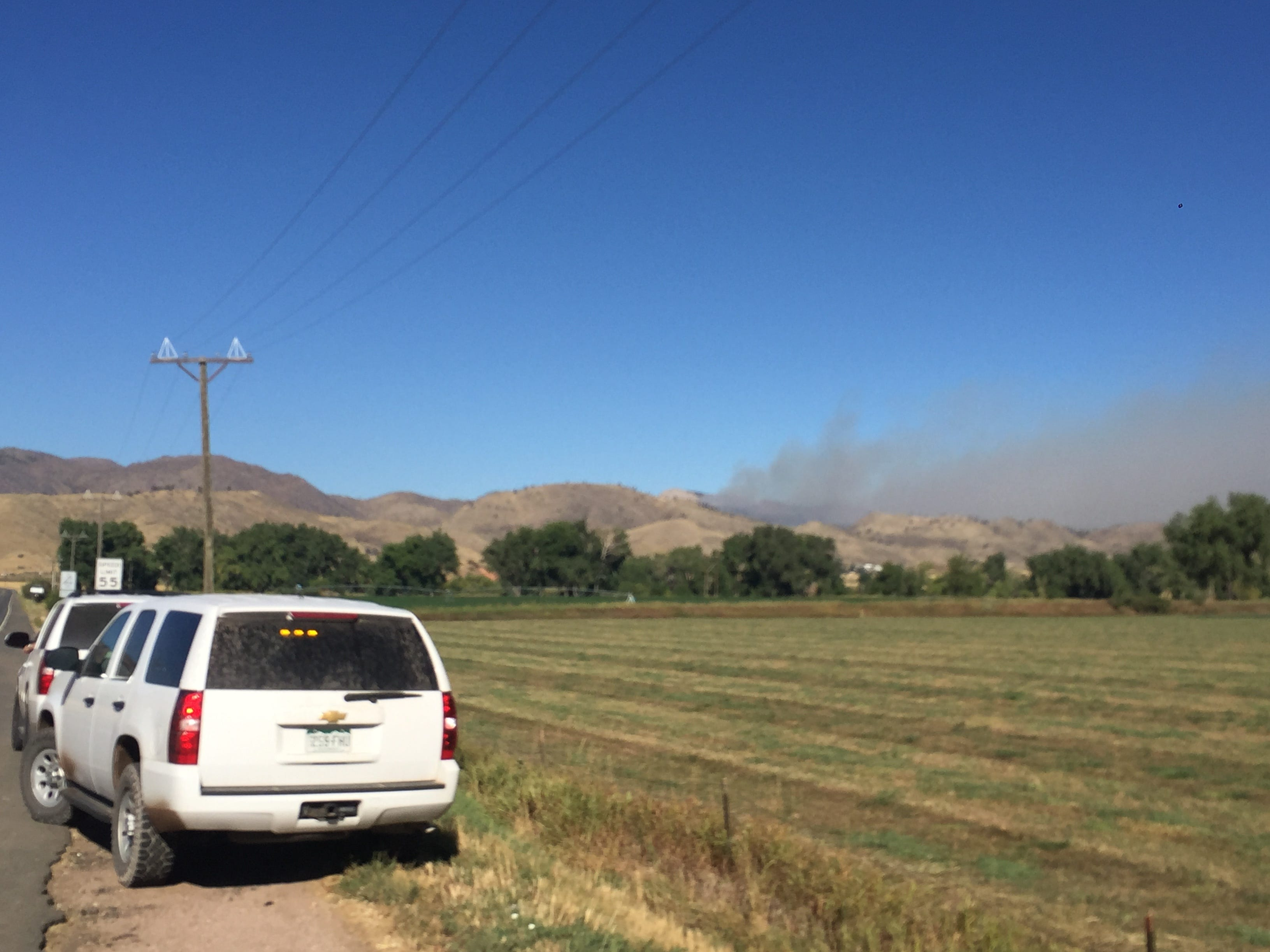 Smoke from the Seaman Fire can be seen from Ted's Place on Colorado Highway 14.