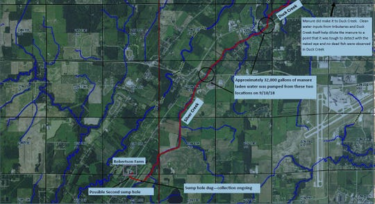 A map of the flow of manure from a spill at Robertson Farm in Oneida