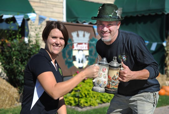 Lorelei Inn owners Meagan Colombo, left, and Dave Hack are gearing up for the bar's 12th annual Oktoberfest on Sept. 21 and 22.