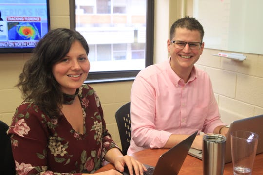 Clemson faculty members Amanda Moore and Andrew Pyle are spearheading the Social Media Listening Center's Hurricane Florence efforts.