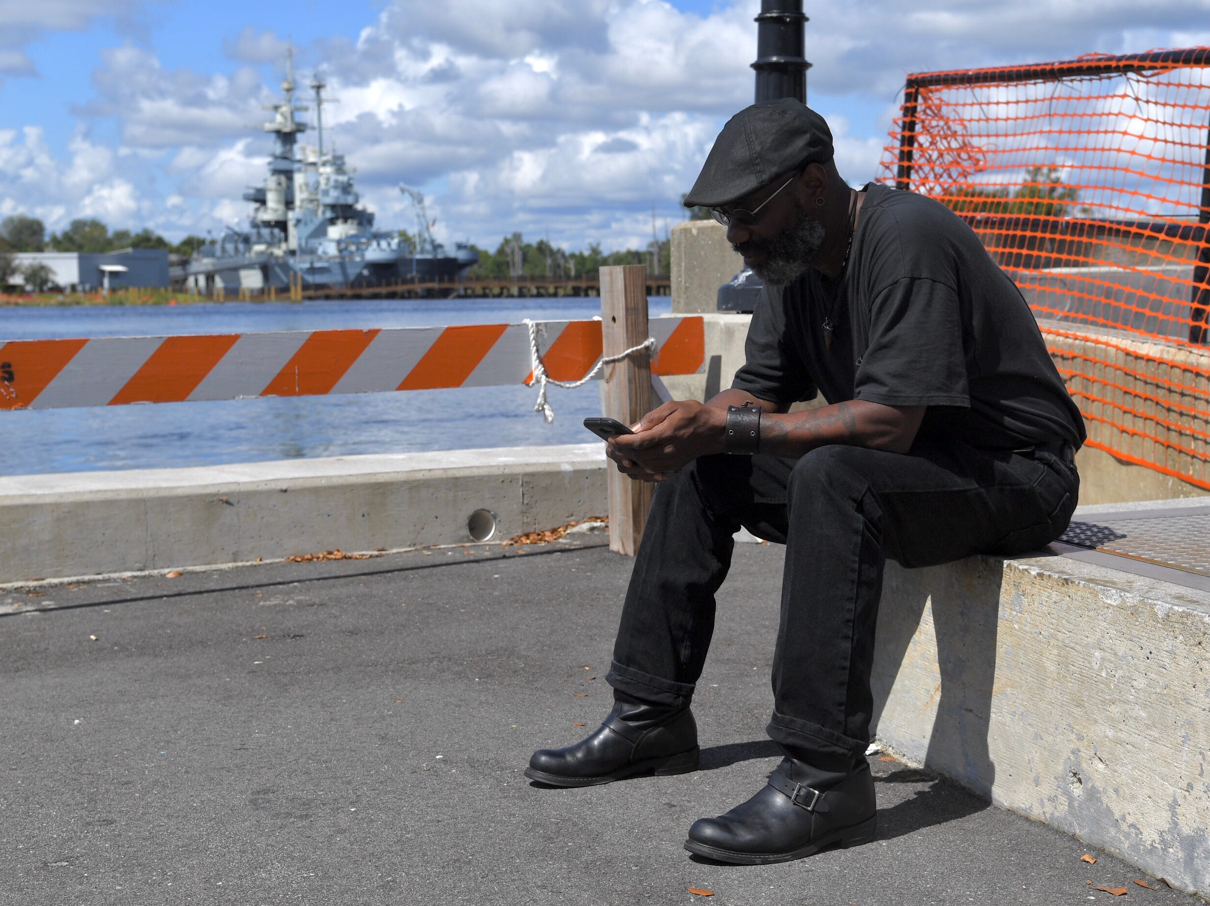James Walker of Wilmington,N.C., is staying home with Hurricane Florence on the way. Walker said he took time off working at the shipyard on Wednesday, Sept. 12, 2018, since there is nothing to unload the day before the hurricane lands, with an expected 11-13 foot storm surge.
