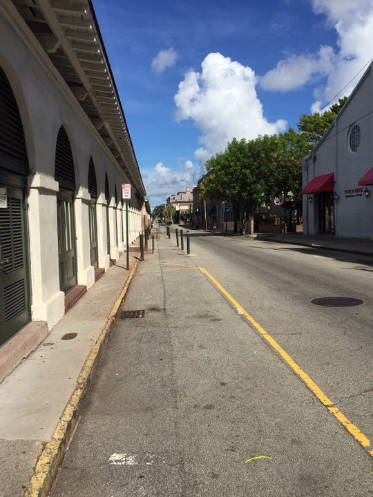 Market Street is uncharacteristically quiet on Wednesday, September 12, as Hurricane Florence approaches the South Carolina coast.