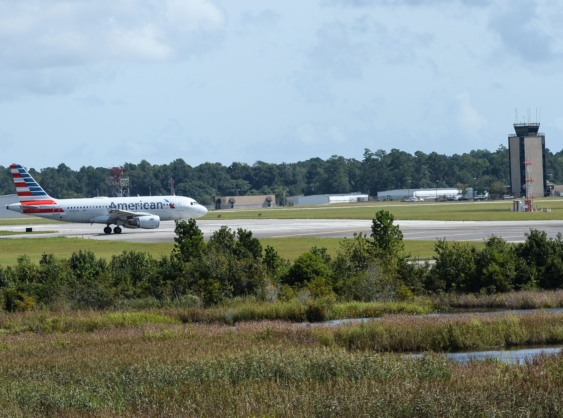 An American Airlines plane after landing in Wilmington, North Carolina on Wednesday, September 12, 2018.  (Ken Ruinard / Greenville News / Gannett USA Today Network / 2018 )