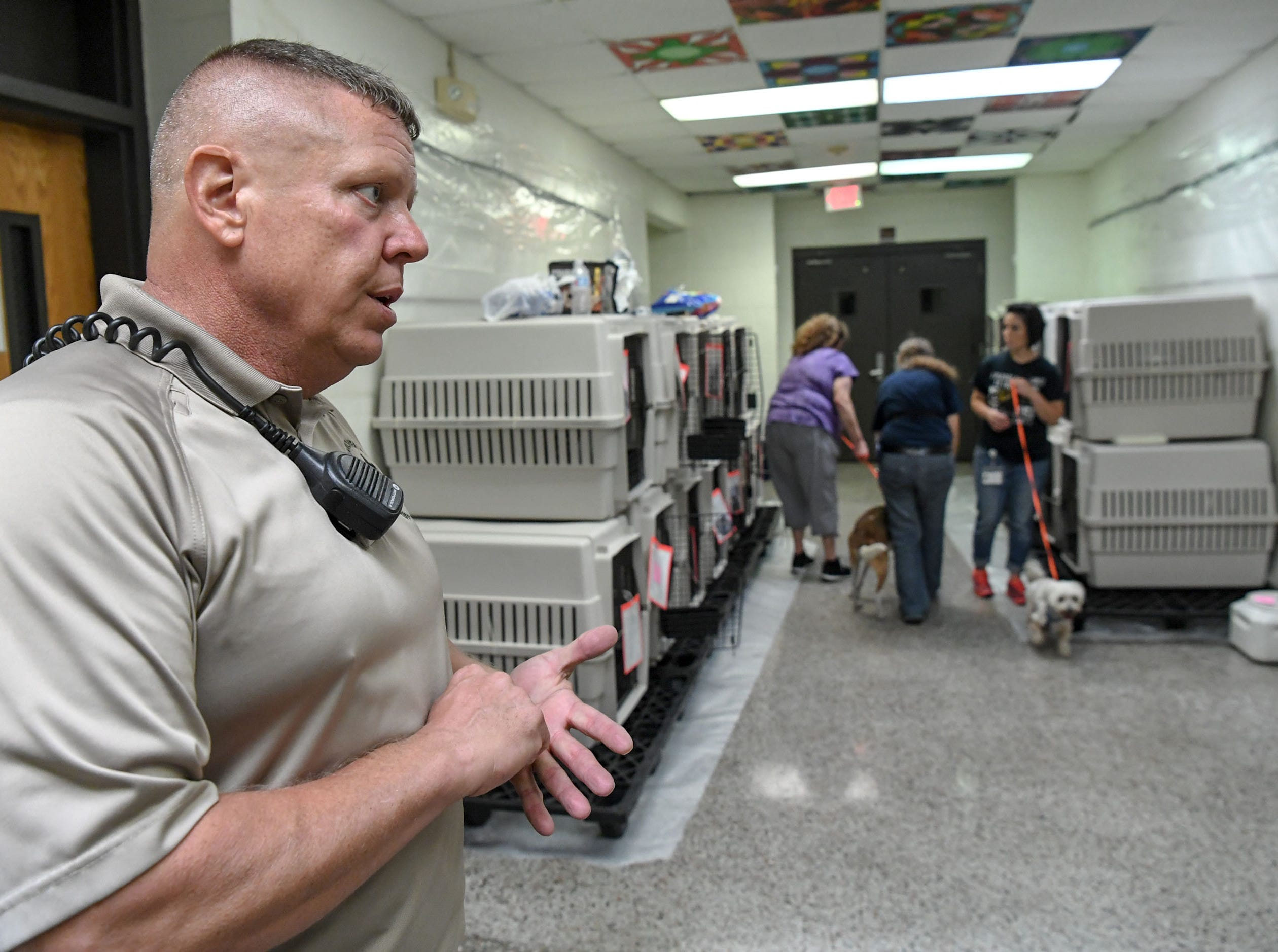 Stephen Watson, a deputy for the New Hanover County Sheriff's office stands nearby as dogs and cats are brought to separate areas at the county emergency shelter held at Trask Middle School in Wilmington, North Carolina on Tuesday, September 11, 2018.  Hurricane Florence is expected to make landfall in Wilmington Thursday night. (Ken Ruinard / Greenville News / Gannett USA Today Network / 2018 )
