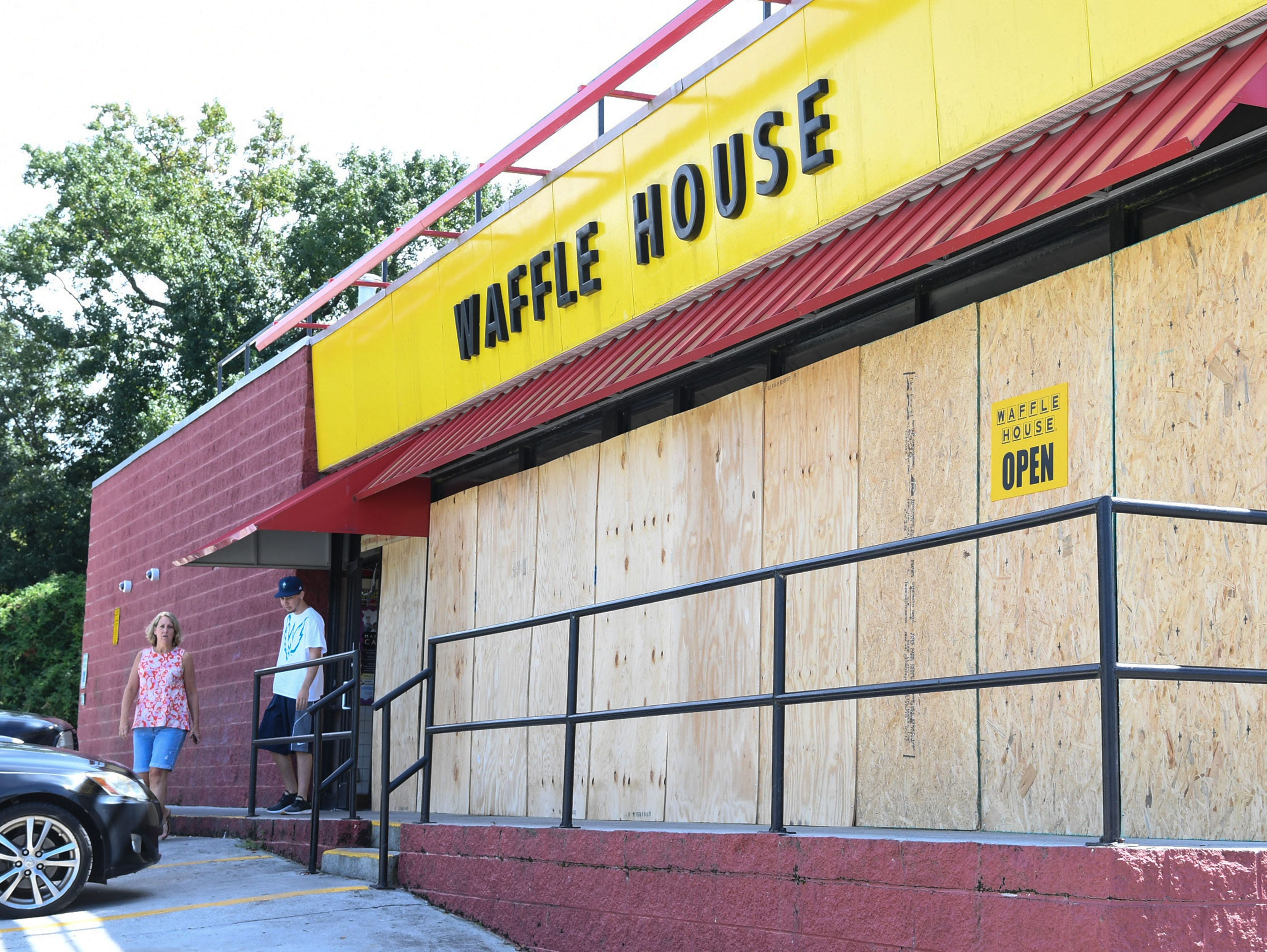 A Waffle House on state highway 421 said they would be open through Hurricane Florence in Wilmington, North Carolina on Wednesday, September 12, 2018.  (Ken Ruinard / Greenville News / Gannett USA Today Network / 2018 )