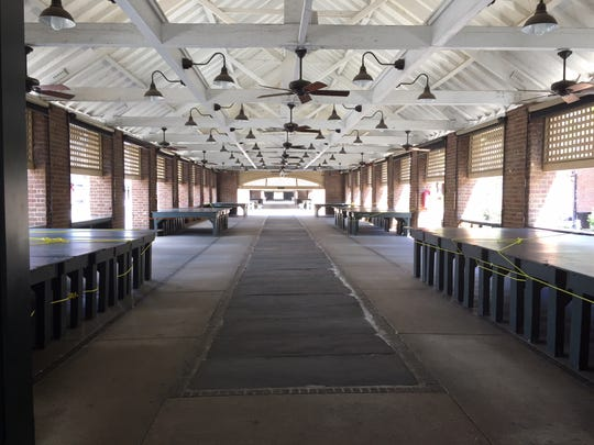The Charleston City Market is uncharacteristically empty on Wednesday, September 12, as Hurricane Florence approaches the South Carolina coast.