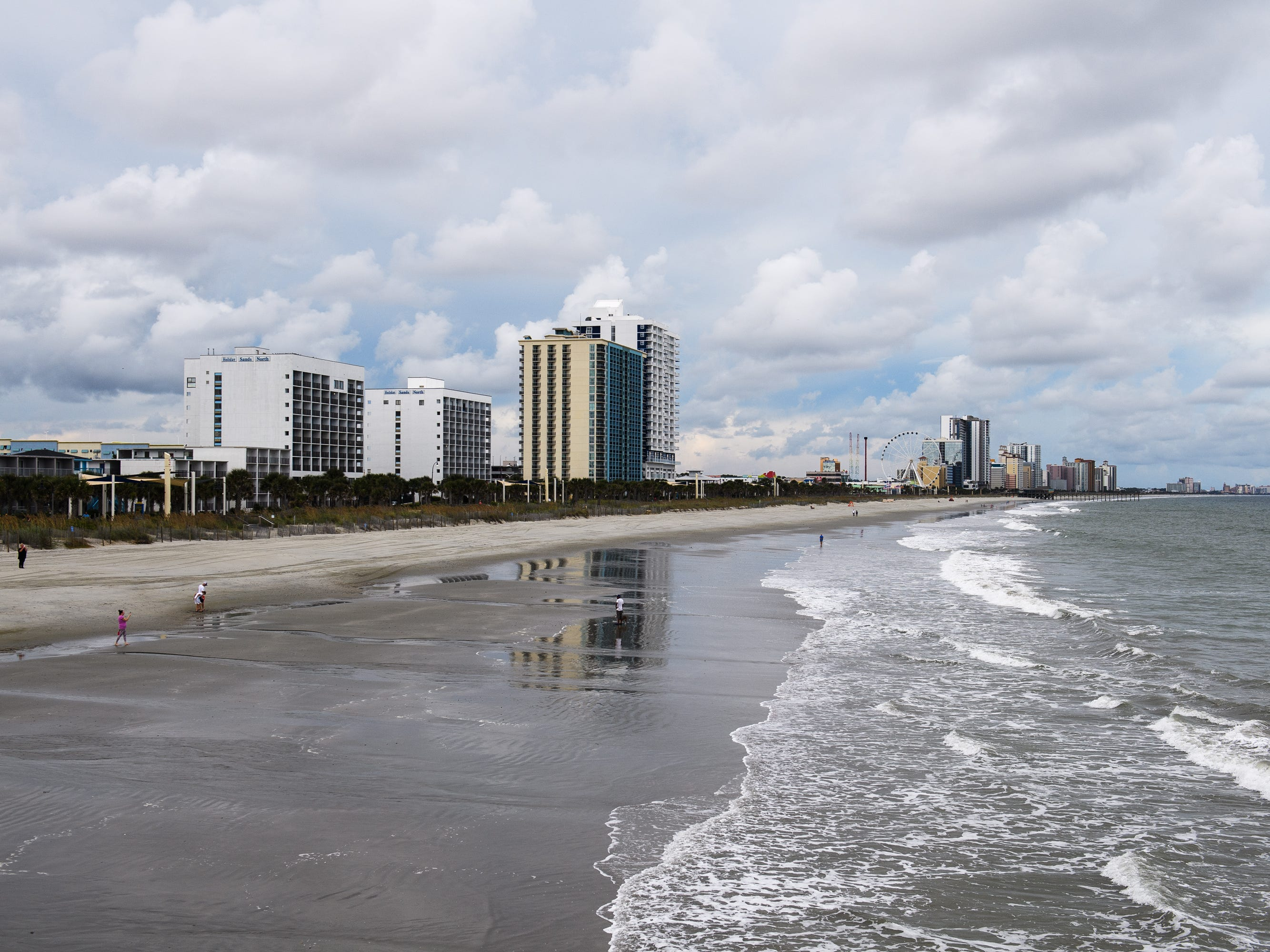 High Rises at Myrtle Beach are visible from the beach days before Hurricane Florence's arrival on Tuesday, Sept. 11, 2018.