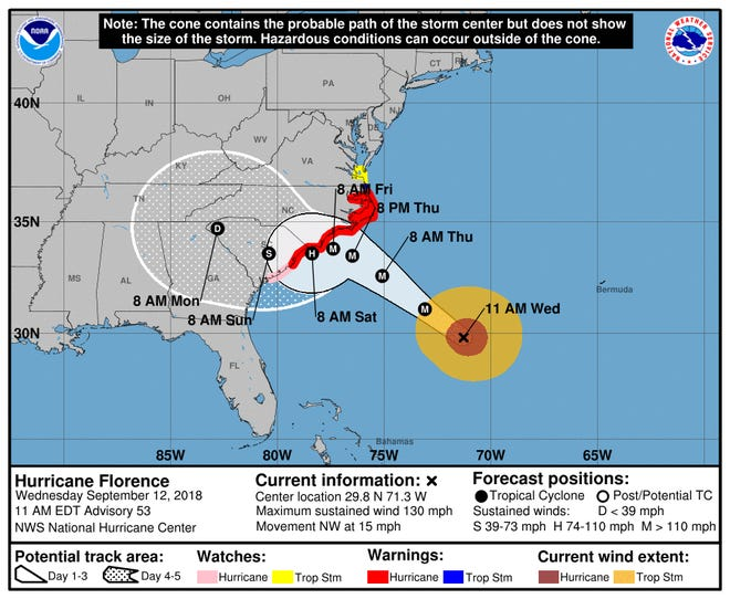 The cone of Hurricane Florence at 11 a.m. Sept. 12, 2018.