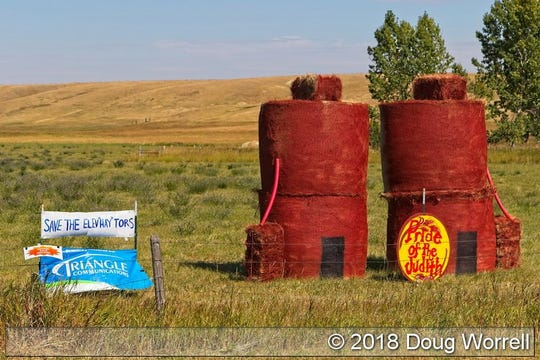 This entry in the annual What the Hay contest between Hobson, Utica and Windham paid homage to Hobson's grain elevators.