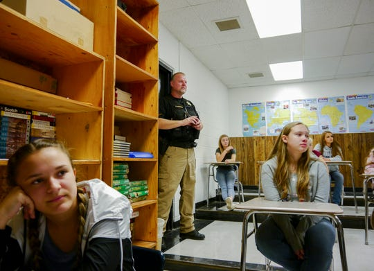 Cascade County Sheriff's candidate Lt. Bob Rosipal observes during active shooter training at Centerville School Wednesday, Sept. 12, 2018.