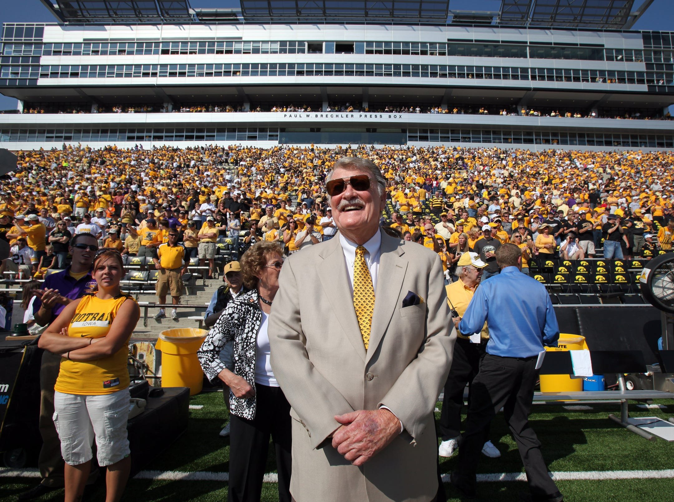 Former Iowa football coach Hayden Fry stands on the sidelines prior to kickoff on Sept. 5, 2009 in Iowa City.