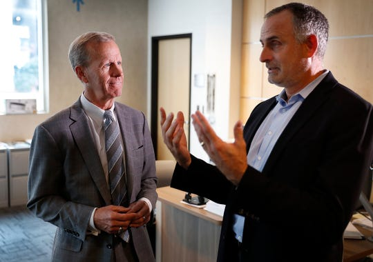 Frank Brogan, assistant secretary for elementary and secondary education, visited the students and teachers at Purdue Polytechnic High School on Sept. 11, 2018. Here Brogan talks with head of school Scott Bess.