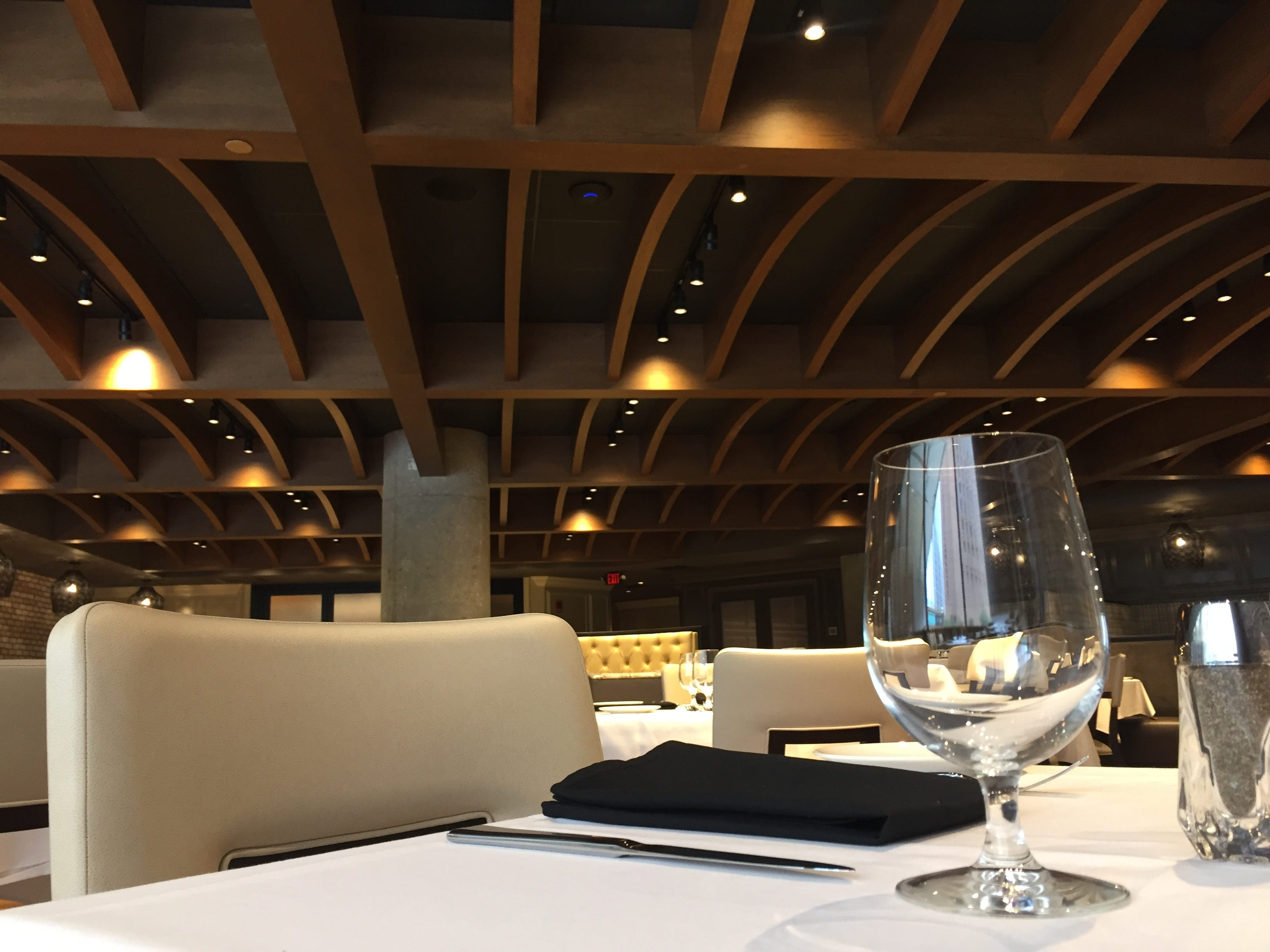 Geometric woodwork composes the ceiling at Tony's Steaks & Seafood, 110 W. Washington St., Downtown Indianapolis.