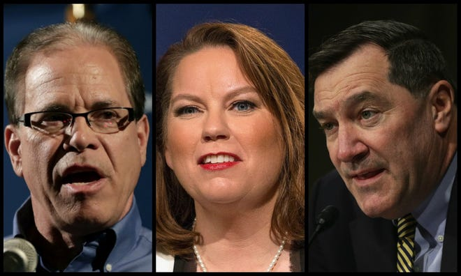 From left, Republican Mike Braun, Libertarian Lucy Brenton and Democrat Joe Donnelly are battling for one of Indiana's U.S. Senate seats.