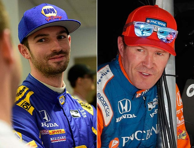Can Alexander Rossi (left) chase down Scott Dixon (right) in the IndyCar Series title race?