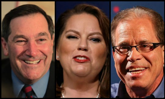 From left, Democrat Joe Donnelly, Libertarian Lucy Brenton, and Republican Mike Braun are seeking one of Indiana's seats in the U.S. Senate.
