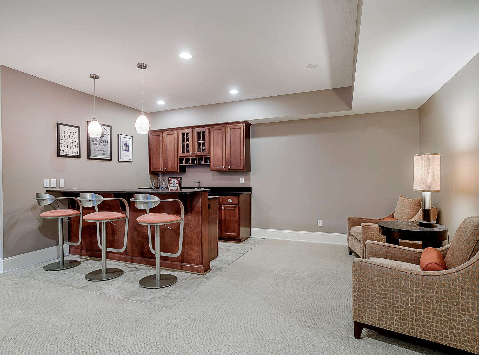 Finished basement and recreation room features a bar, a bedroom and a bathroom.