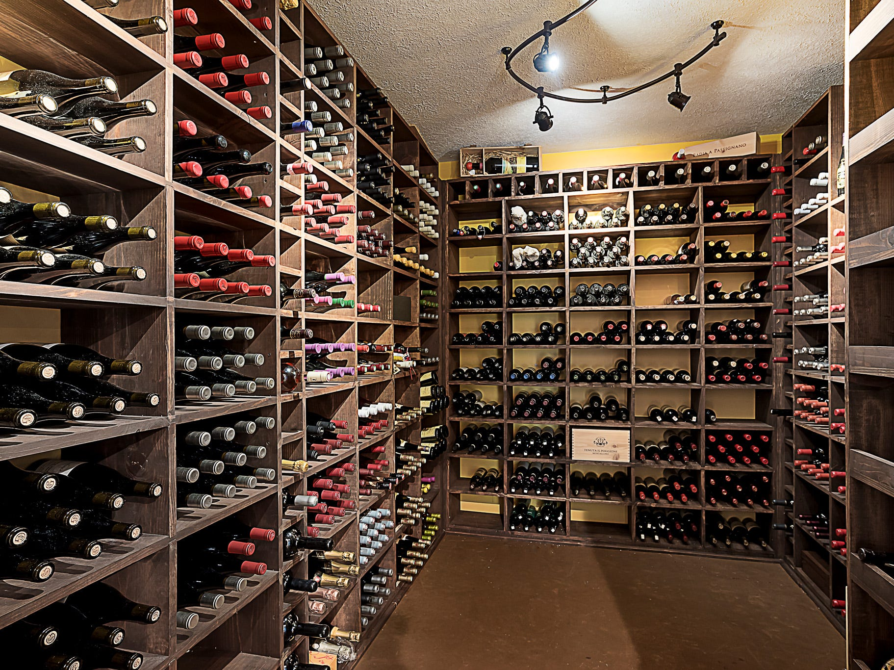 A wine cellar in the basement is climate controlled and holds up to 1,200 wine bottles.