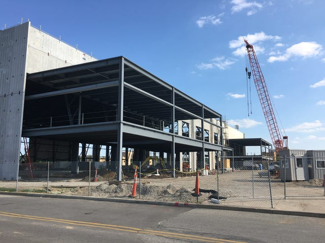 Construction is underway on Notre Dame's new indoor practice facility.