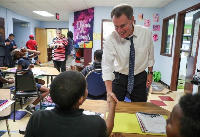 Indianapolis Mayor Joe Hogsett tours the Martin Luther King Community Center on Sept. 11.